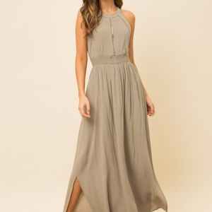 Dresses & Skirts - CROCHET TRIM INSET HALTER NECK MAXI DRESS